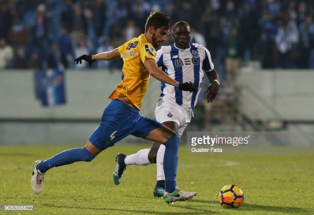 Estoril Praia defender Pedro Monteiro from Portugal with FC Porto forward Vincent Aboubakar from Cameroon in action during the Primeira Liga match...