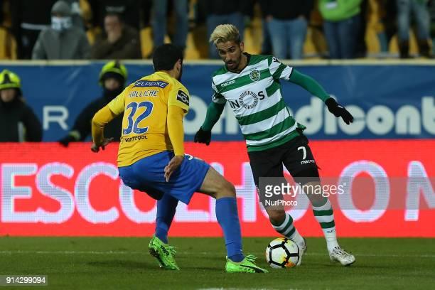 GD Estoril Praia defender Rafik Halliche from Algeria and Sporting CP forward Ruben Ribeiro from Portugal during the Premier League 2017/18 match...