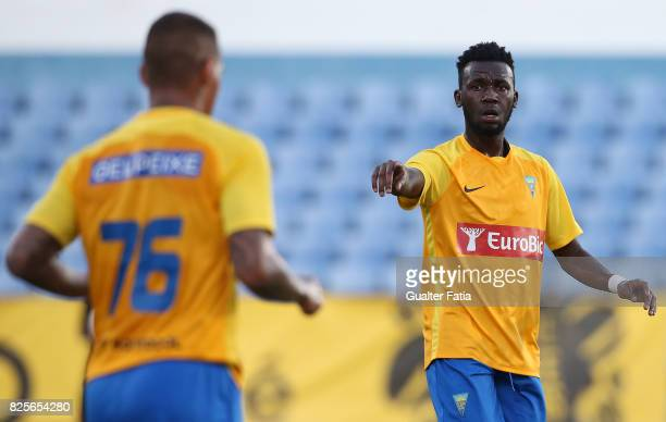 Estoril Praia forward Allano Lima from Brazil celebrates after scoring a goal during the PreSeason Friendly match between CF Os Belenenses and GD...