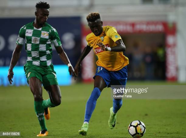 Estoril Praia forward Allano Lima from Brazil with Moreirense FC midfielder Alfa Semedo from Guinea Bissau in action during the Primeira Liga match...