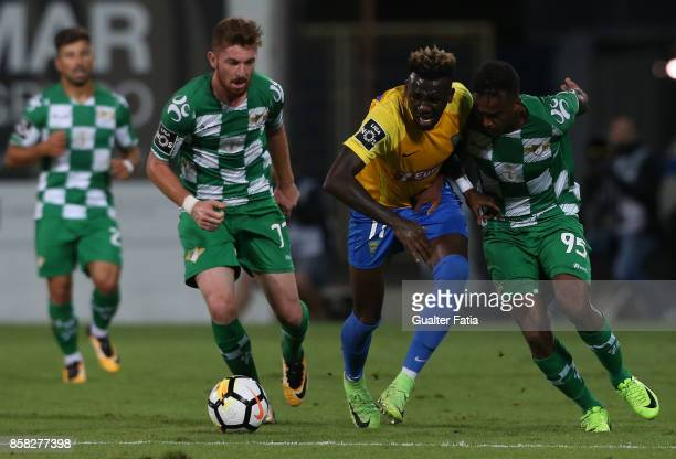 Estoril Praia forward Allano Lima from Brazil with Moreirense FC defender Pierre Sagna from France and Moreirense FC forward Arsenio from Portugal in...