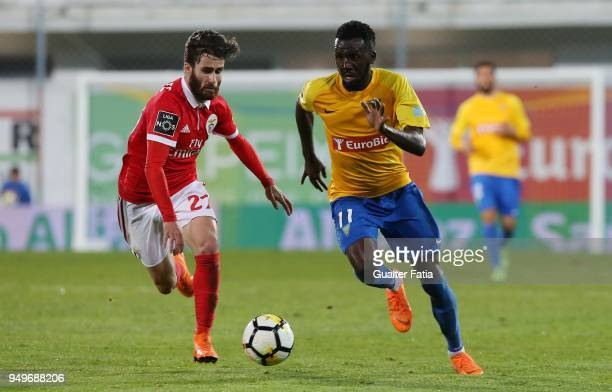 Estoril Praia forward Allano Lima from Brazil with SL Benfica forward Rafa Silva from Portugal in action during the Primeira Liga match between GD...