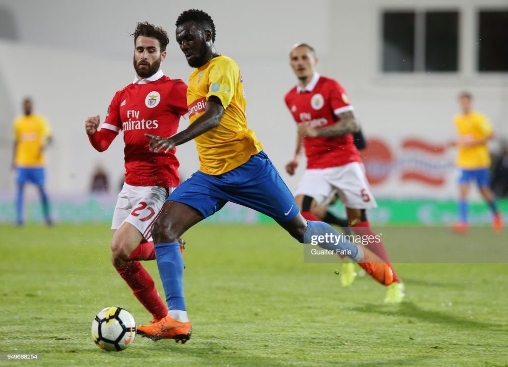 GD Estoril Praia forward Allano Lima from Brazil with SL Benfica forward Rafa Silva from Portugal in action during the Primeira Liga match between GD Estoril Praia and SL Benfica at Estadio Antonio Coimbra da Mota on April 21, 2018 in Estoril, Portugal.