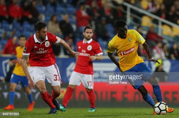 Estoril Praia forward Allano Lima from Brazil with SL Benfica defender Jardel Vieira from Brazil in action during the Primeira Liga match between GD...