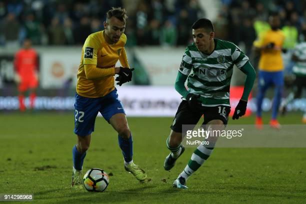 GD Estoril Praia forward Andre Claro from Portugal and Sporting CP midfielder Rodrigo Battaglia from Argentina during the Premier League 2017/18...