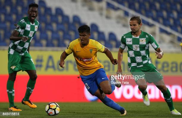 Estoril Praia forward Matheus Indio from Brazil with Moreirense FC midfielder Alan Schons from Brazil in action during the Primeira Liga match...