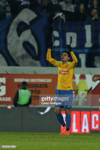 Estoril Praia midfielder Eduardo Teixeira from Brazil celebrates scoring Estoril goal during the match between GD Estoril Praia and FC Porto for...