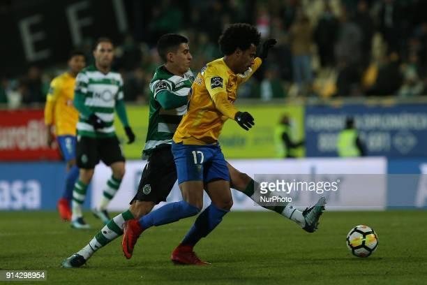 GD Estoril Praia midfielder Lucas Evangelista from Brazil and Sporting CP midfielder Rodrigo Battaglia from Argentina during the Premier League...