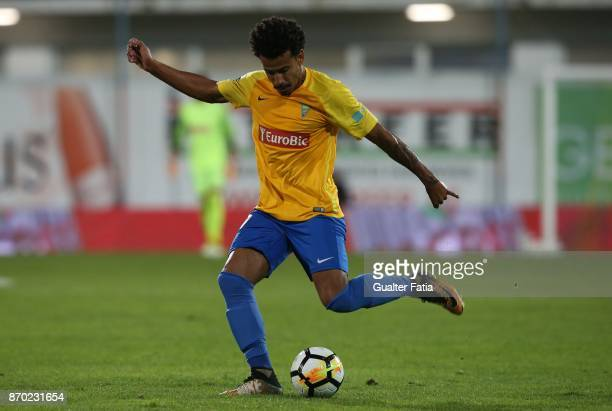 Estoril Praia midfielder Lucas Evangelista from Brazil in action during the Primeira Liga match between GD Estoril Praia and Rio Ave FC at Estadio...