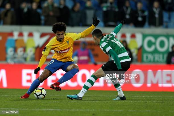 Estoril Praia midfielder Lucas Evangelista from Brazil vies with Sporting CP midfielder Rodrigo Battaglia from Argentina for the ball possession...