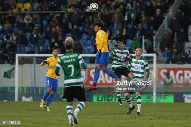 Estoril Praia midfielder Lucas Evangelista from Brazil with Sporting CP forward Marcos Acuna from Argentina in action during the Primeira Liga match...