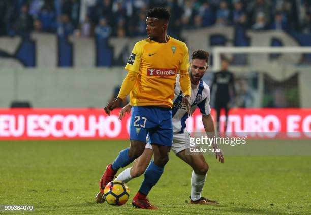 Estoril Praia midfielder Wesley from Brazil with FC Porto defender Miguel Layun from Mexico in action during the Primeira Liga match between GD...