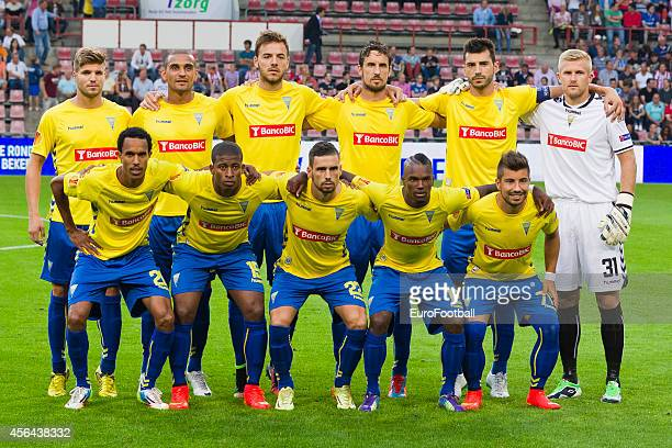 Estoril Praia players pose for a team photo before the UEFA Europa League match between PSV Eindhoven and Estoril Praia at the Philips Stadium on...