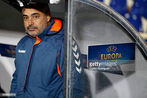 Estoril's coach Jose Couceiro looks on during the UEFA Europa League match between Estoril Praia and PSV Eindhoven at the Estadio Antonio Coimbra da...