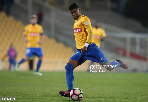 Estoril's defender Ailton Silva from Brazil in action during the Primeira Liga match between GD Estoril Praia and Boavista FC at Estadio Antonio...