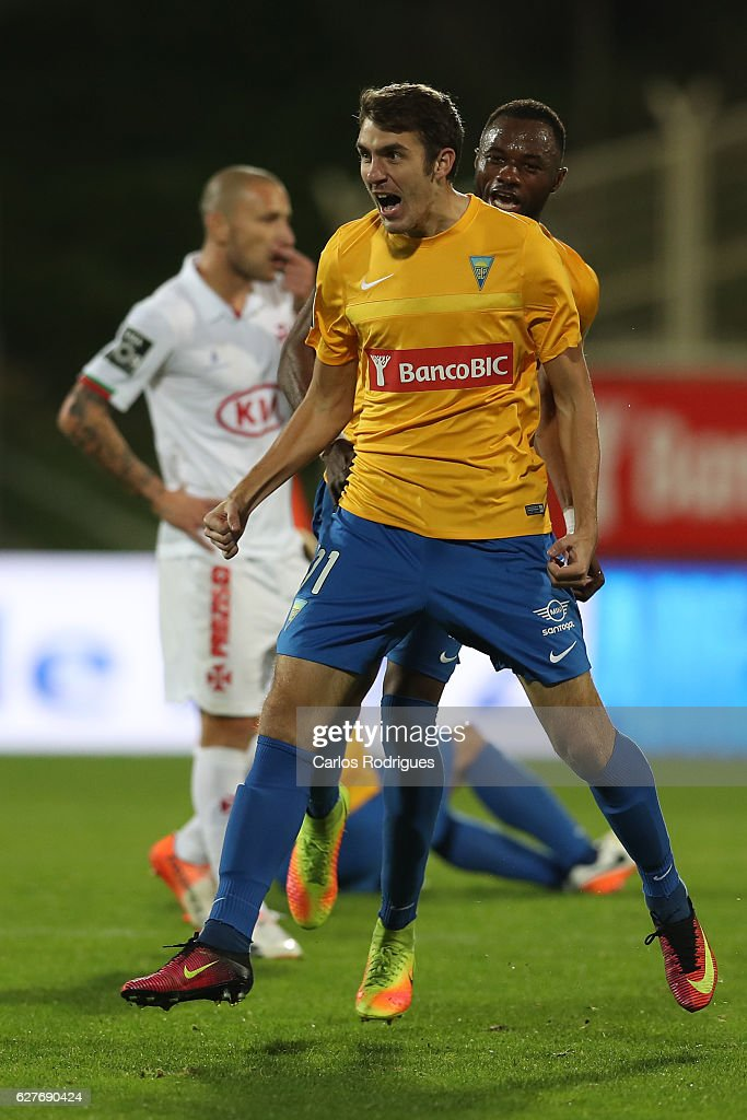 Estoril's forward Konstantin Bazelyuk from Russia celebrates scoring Estoril goal during the match between Estoril Praia SAD and CF Os Belenenses for the Portuguese Primeira Liga at Estadio Antonio Coimbra da Mota on August 21, 2016 in Lisbon, Portugal.