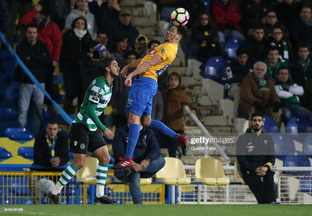 Estoril's forward Lica from Portugal with Sporting CP's forward Bryan Ruiz from Costa Rica in action during the Primeira Liga match between GD Estoril Praia and Sporting CP at Estadio Antonio Coimbra da Mota on February 25, 2017 in Estoril, Portugal.