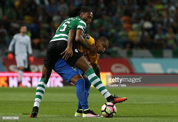 Estoril's forward Paulo Henrique from Brazil with Sporting CP's defender Ruben Semedo in action during the Primeira Liga match between Sporting CP...