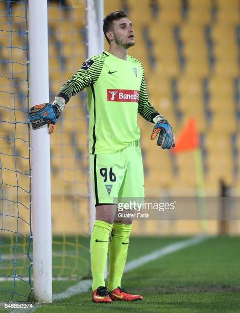 Estoril's goalkeeper Luis Ribeiro from Portugal in action during the Primeira Liga match between GD Estoril Praia and Rio Ave FC at Estadio Antonio...