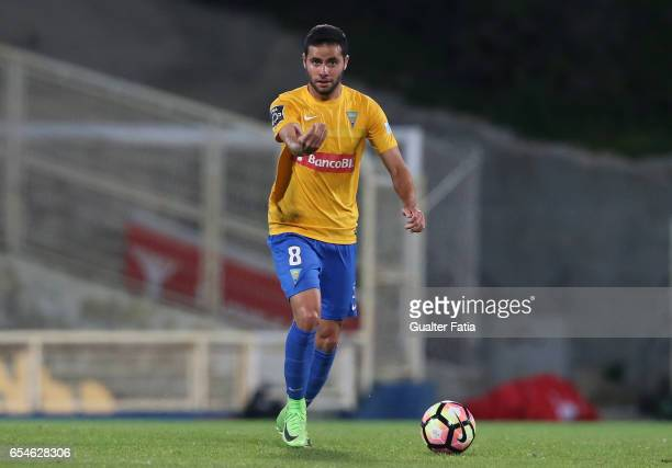 Estoril's midfielder Eduardo Teixeira from Brazil in action during the Primeira Liga match between GD Estoril Praia and Boavista FC at Estadio...
