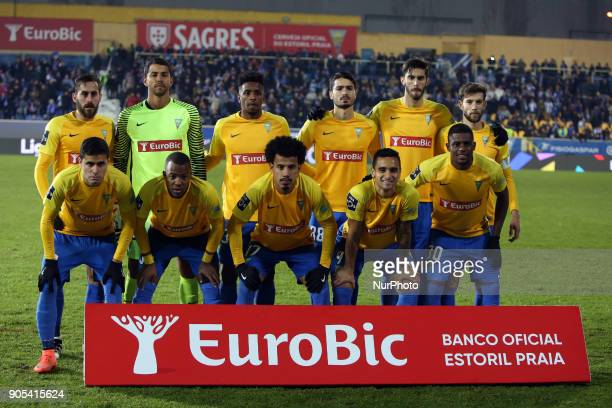 Estorils starter team before the Portuguese League football match Estoril Praia vs FC Porto at the Antonio Coimbra da Mota stadium in Cascais on...