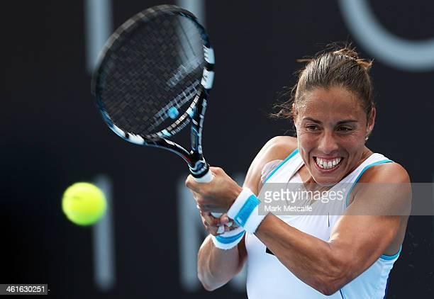 Estrella Cabeza Candela of Spain hits a backhand in her semi final match against Garbine Muguruza of Spain during day six of the Moorilla Hobart...
