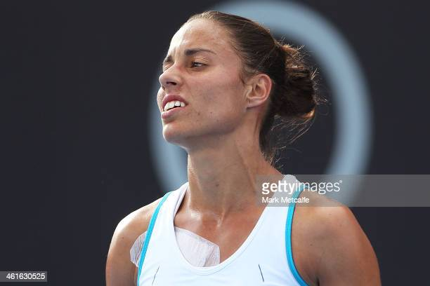 Estrella Cabeza Candela of Spain reacts to losing a point in her semi final match against Garbine Muguruza of Spain during day six of the Moorilla...
