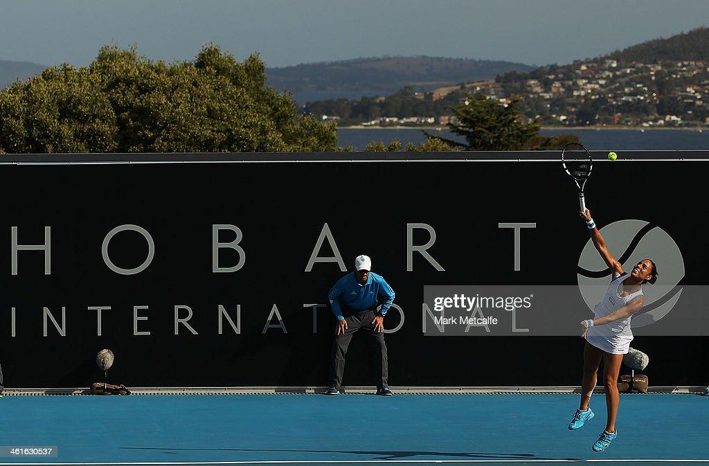 Estrella Cabeza Candela of Spain serves in her semi final match against Garbine Muguruza of Spain during day six of the Moorilla Hobart International at Domain Tennis Centre on January 10, 2014 in Hobart, Australia.