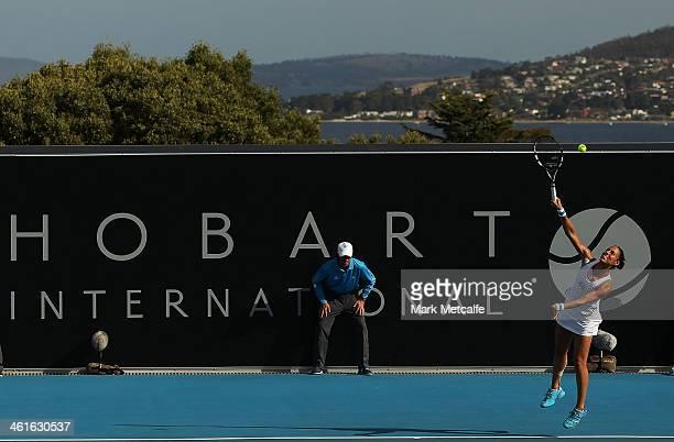 Estrella Cabeza Candela of Spain serves in her semi final match against Garbine Muguruza of Spain during day six of the Moorilla Hobart International...