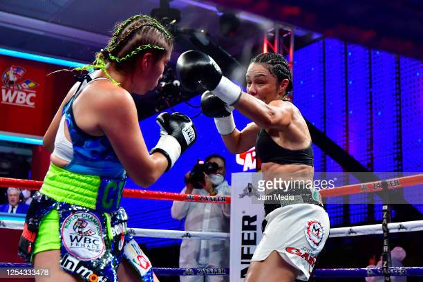 Estrella 'Chacala' Valverde in action against Jackie 'Princesa' Nava during an unofficial fight at TV Azteca as part of Volvemos con Punch TV show on...