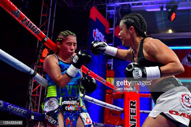Estrella 'Chacala' Valverde punches Jackie 'Princesa' Nava during an unofficial fight at TV Azteca as part of Volvemos con Punch TV show on July 4...