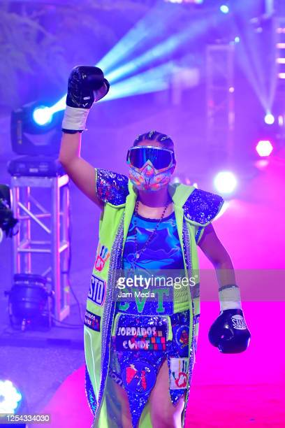 Estrella 'Chacala' Valverde walks to the ring for an unofficial fight against Jackie 'Princesa' Nava at TV Azteca as part of Volvemos con Punch TV...