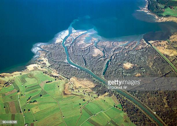 estuary of the tiroler ache into chiemsee, bavaria, germany - estuary stock pictures, royalty-free photos & images