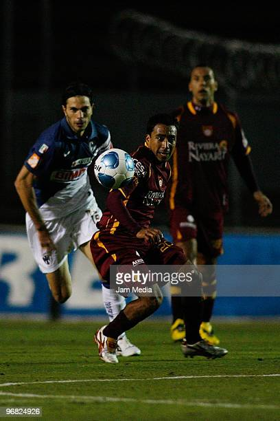 Estudiantes Tecos' player Elgabry Rangel in action during the match against Monterrey in the Bicentenario 2010 tournament, the closing stage of the...