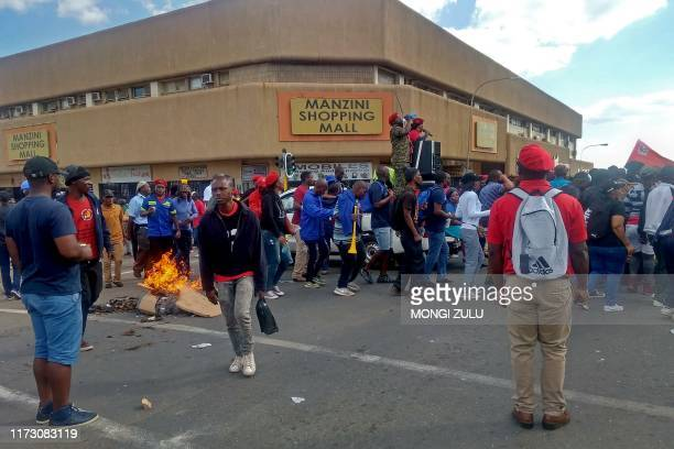 Eswatini's civil servants demonstrate for salary increase and better working conditions on October 2, 2019 in Manzini.