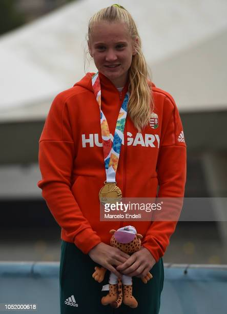 Eszter Rendessy of Hungary poses with her Gold Medal after the Women Kayak Head to Head Sprint during day 6 of Buenos Aires Youth Olympic Games 2018...