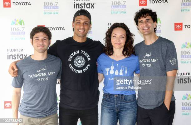 Etai Benson Ari'el Stachel Katrina Lenk and John Cariani from the cast of 'The Band's Visit' attend 1067 LITE FM Broadway in Bryant Park on July 26...