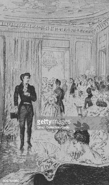 Etched illustration depicting a man in a suit holding a top hat in a room full of well dressed people for the novel I Promessi Sposi by Alessandro...