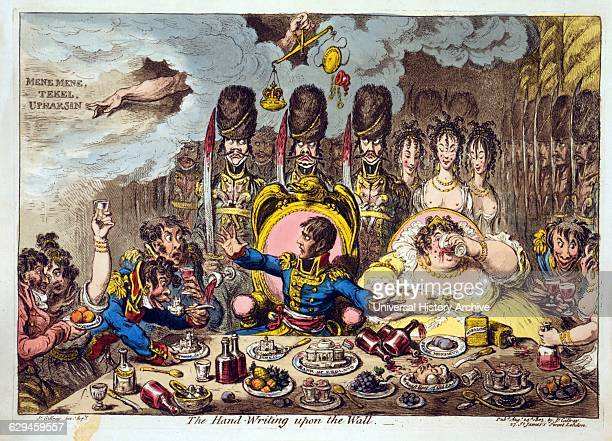 Etching aquatint handcoloured engraving entitled 'The Handwriting upon the wall' by James Gillray Napoleon Josephine French soldiers and women seated...