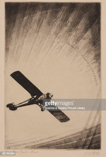Etching by A C Webb Charles Augustus Lindbergh was an airmail pilot who worked on the St Louis to Chicago run On 20th21st May 1927 Lindbergh made the...