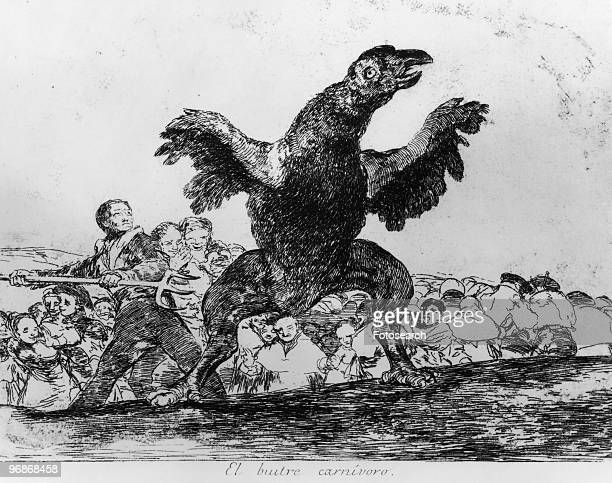 Etching By Franciso Goya with caption 'El Buitre Carnivoro' Part of the series 'The Disasters Of War' circa 1810