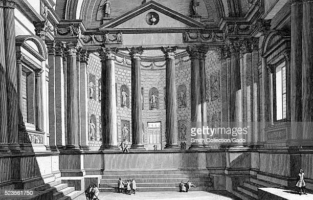 Etching depicting a hall according to the custom of the ancient Romans with small groups of people titled 'Sala all' uso degli antichi Romani' by...