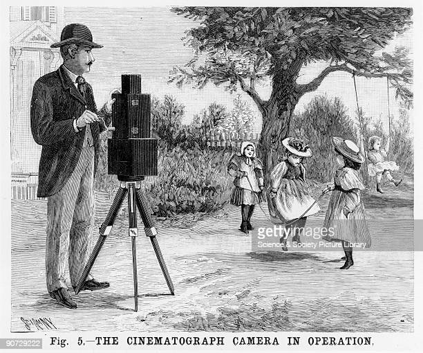 Etching depicting a man filming girls skipping. The cinematographe, invented by Auguste and Louis Lumiere, was a combined camera projector and...