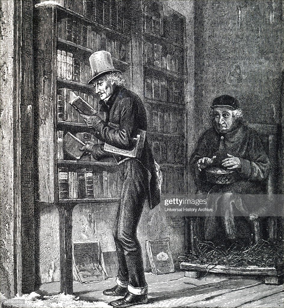 Etching depicting a wealthy man browsing inside of a bookshop. Dated 19th century.