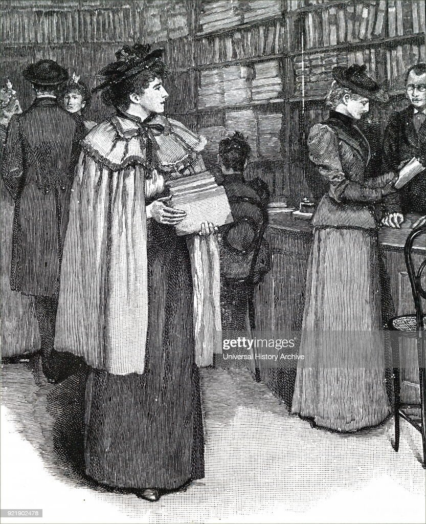 Etching depicting a woman selecting books to buy. Dated 19th century.