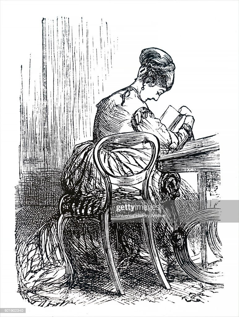 Etching depicting a young girl sitting in a chair reading her book. Dated 19th century.