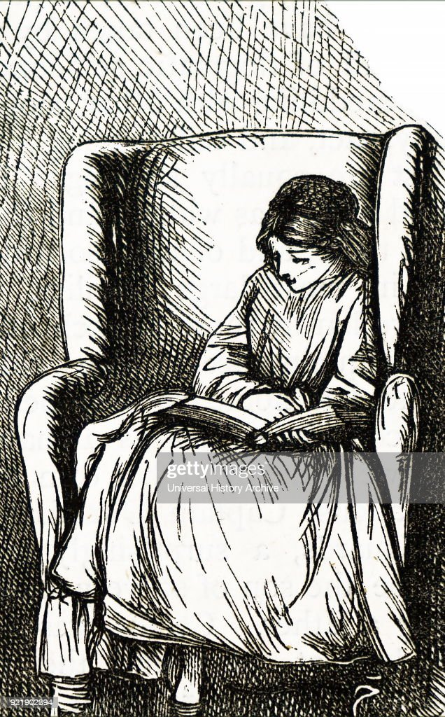 Etching depicting a young girl sitting in a large arm chair reading her book. Dated 19th century.