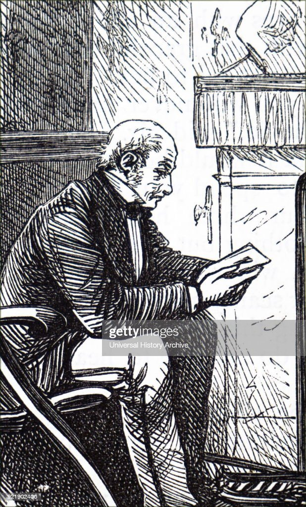 Etching depicting an older gentleman reading beside the fireplace. Dated 19th century.