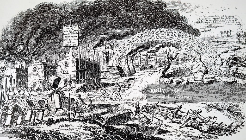 Etching depicting the expansion of London, showing the eating up of greenfield sites and pollution from the city and from brickworks. Etched by George Cruikshank (1792-1878) a British caricaturist and book illustrator. Dated 19th century.