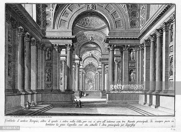 Etching depicting the vestibule of an ancient temple with small groups of people titled 'Vestibolo d'atico Tempio' by Giovanni Battista Piranesi from...